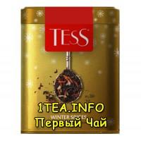Tess Winter Spices ТЕСС Винтер Спайсис черный листовой с добавками в железной банке 110 гр.